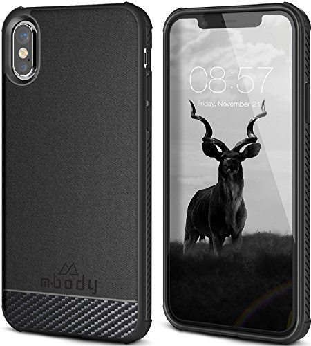 Mbody by Aduro iPhone X/Xs Case ALYSTER Coated Canvas Slim Case, Carbon Fiber Design Hard Protective Case Extra Grip Impact Edge to Edge Protection for Apple iPhone X/Xs/iPhone 10 (2018/2017)