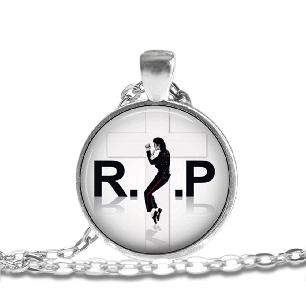 Michael Jackson King of Pop Bezel Pendant Necklace Silver Plated AMZN51
