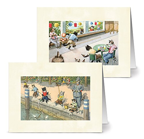 Note Card Cafe All Occasion Greeting Cards with Off White Envelopes | 36 Pack | Vintage Crazy Cats Designs Assortment | Blank Inside, Glossy Finish | Great for Sending Notes, Gifts, Bulk