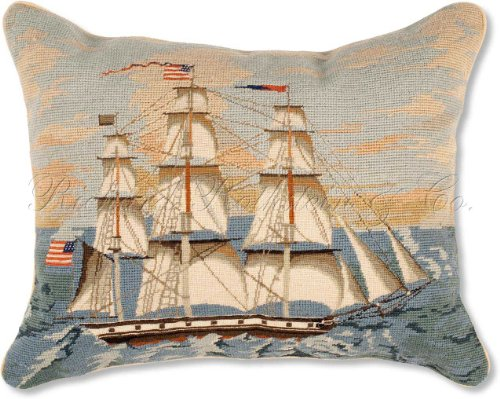 Nantucket Throw Pillow (Handmade 100% Wool Colonial Williamsburg Tall American United States Ship Nantucket Beach Shore House Coastal Classic Traditional Maritime Schooner Needlepoint & Petit Point Decorative America's Cup Captain Boat Throw Pillow. 16