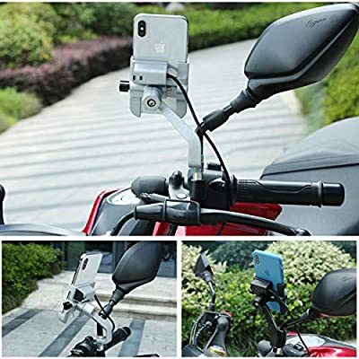 Aluminum Alloy Motorcycle Phone Holder Motorcycle Support GPS Holder Motorcycle Handlebar Cycling Accessories Phone Mount Holder Fit Rear View Mirror 360 Degree Rotation Fast USB Charger