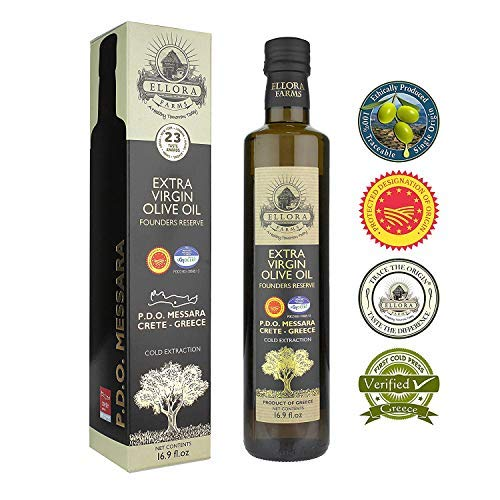 2019 Gold Medal Winner Extra Virgin Olive Oil | PDO Messara Valley First Cold Press | For Cooking, Salads, Baking, Hair and Skin moisturizing | Large Bottle in Gift box, 17 FL oz- (Best Ranch Dressing 2019)