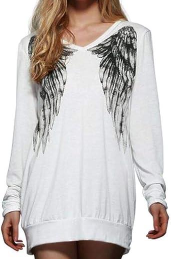 Sudadera de Manga Larga para Mujer Camisa Estampada con alas de ángel Blusa Suelta Informal Sudadera: Amazon.es: Ropa y accesorios