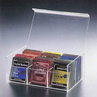 "6 Compact Tea Bag Box (Clear) (8.5""L x 5.5""W x 3.5""H) from HA"