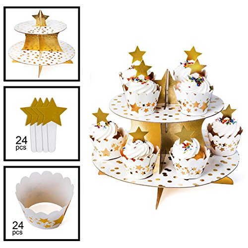 Black and Gold Supplies – Black and Gold Cupcake Stand, 24 Cupcake Wrappers & 24 Cupcake Toppers -– Black and Gold Themed Party - Bachelorette Party Supplies by Tigerdoe