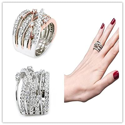 Lethez Clearance Criss Cross Diamond Cylindrical Band Ring New Creative Engagement Wedding Jewelry