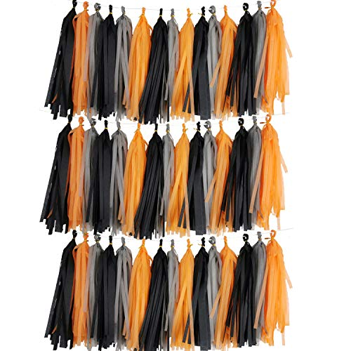 Halloween Tissue Paper Garland (45PCS Halloween Party Backdrop, Paper Tassel Banner Garland Black Orange Grey Photo Backdrop for Halloween Party Decorations Party)