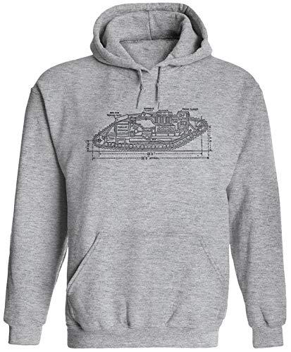(Austin Ink Apparel Mark IV Tank Plans Unisex Adult Hooded Pullover Sweatshirt, SGrey, M Sports Gray)