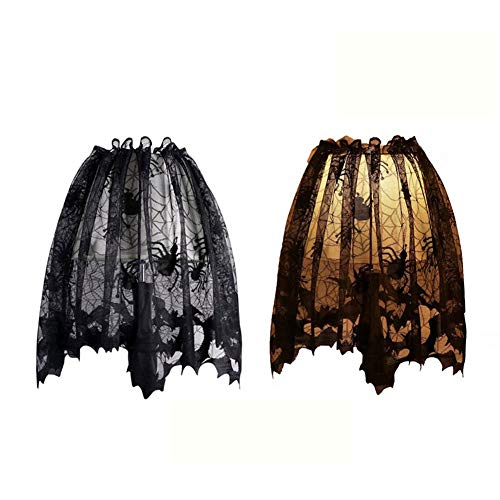 Dulcii 3 in 1 Halloween Black Lace Spider Web Lampshade Topper/Window Wag/Fireplace Mantle Scarf, Halloween Home Decor Essentials, Size:20x60inch / 51x152cm, 2 Pack]()