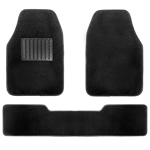 FH Group F14405BLACK Carpet Floor Mats with Driver Heel Pad-Black