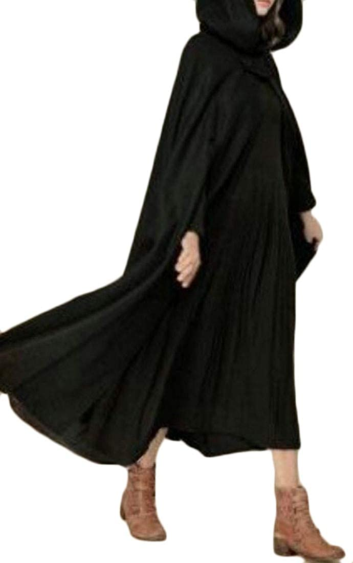 Joe Wenko Women Outwear Cape Poncho Open Front Plus Size Hooded Trench Coat