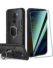 AROYI Redmi Note 9 Case Silicone & HD kogelvrij glas, Dual Layer pantser Phone Case Redmi Note 9 met Ring Grip Silicone Bumper Cases Krasbestendig Schokbestendig Beschermhoes voor Redmi Note 9 Smartphone (zwart)