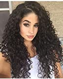 WINBOWIG 8A Human Hair Lace Wig Deep Curl Full Lace Wig Natural Black Color 150% Density With Baby Hair (16 INCH, FULL LACE WIG)