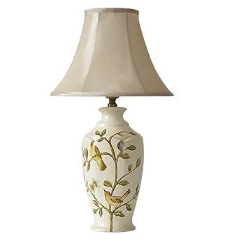 SHAOHUAYING Amerikanischer Moderner Luxus Malte Gemalte Blumen Und Vögel,  Keramische Tischlampe Schlafzimmer Nachttisch