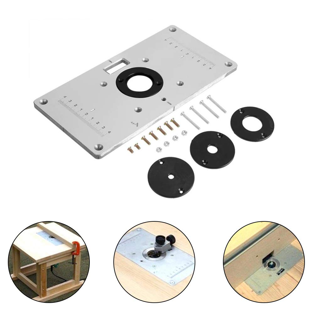 Router Table Insert Plate,9.3''x4.7''x 0.3'' Universal Router Table Insert Plate with 4 Rings and Screws for Woodworking Benches