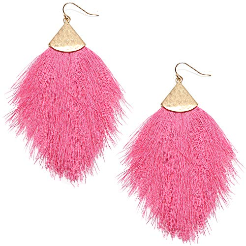 MIRMARU Fringe Tassel Silky Thread Dangle Drop Metal Hook Earrings-Drop Dangle Statement Earrings (Fuchsia) (Earring Hook Earrings)