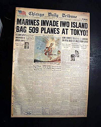 Marines Beach Landing - IWO JIMA Japan U.S. 5th Marines Division BEACH Landing Begin 1945 WWII Newspaper CHICAGO DAILY TRIBUNE, Feb. 19, 1945