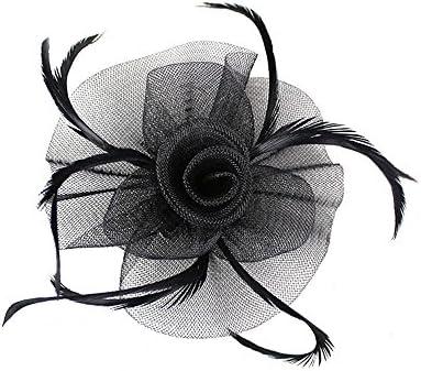 a3b6069243c AJON Mujeres Clip del Pelo del Fascinator Malla De Fores De Plumas Diadema  Fiesta De Té De Cóctel De Boda Derby Sombreros Sombrero del Fortín