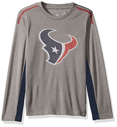 Outerstuff NFL Youth Boys Mainframe Long Sleeve Performance Tee-Light Charcoal-L(14-16), Houston Texans - Houston Texans Charcoal