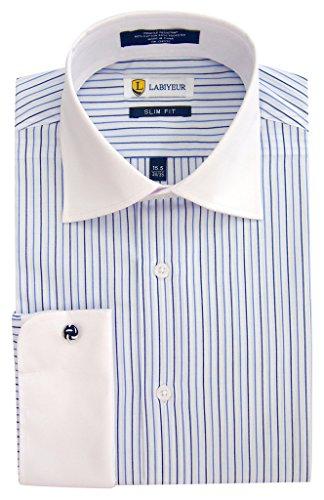 33 Wrinkle Free Dress Shirt (Labiyeur Men's Slim Fit French Cuff Striped Dress Shirt 16.5 | 32-33 Blue Stripes on White)