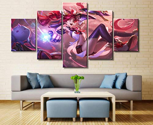 Legends Furniture Contemporary Light - sansiwu k 5 Panel League of Legends Jinx Game Canvas Printed Painting for Living Wall Art Home Decor Hd Picture Artwork Modern Poster