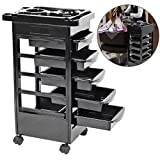 Hair Salon Instrument Storage Cart, Beauty Hairdressing Iron Pipe Rack Rolling Wheels Cart Adjustable Height Trolley Beauty Tools with 5 Drawers