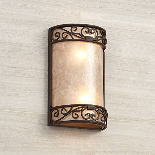 Natural Mica Rustic Wall Light Iron Scroll 12 1/2