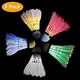 Philonext 5 Pack LED Badminton Shuttlecocks, LED Sports Training Badminton Balls Shuttlecock Dark Night Glow Birdies Lighting for Outdoor Indoor Sports Activities