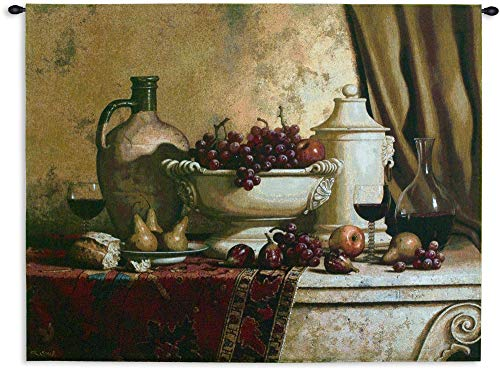 Italian Feast by Loran Speck | Woven Tapestry Wall Art Hanging | Fruit and Wine Still Life Rembrandt Style | 100% Cotton USA Size 53x42