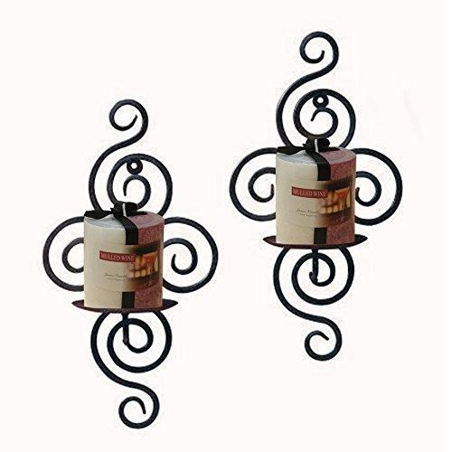 Decor Hut Iron Candle Holder Set of 2, Wall Sconces, Swirl - 2 Hut