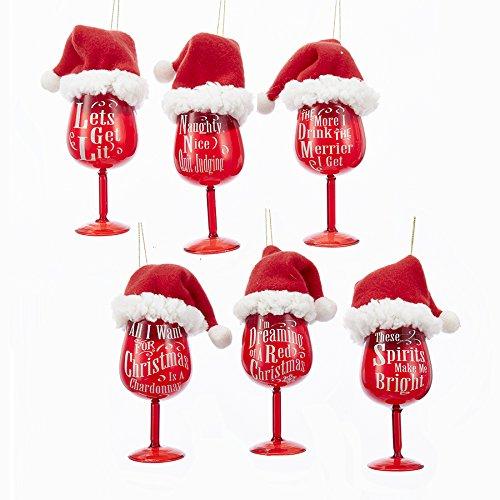 Glass Santa Hat Ornament (Kurt Adler RED SANTA HAT WINE GLASS WITH SAYING ORNAMENT - 6 ASSORTED)