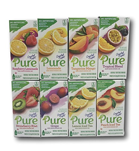 Crystal Light On-The-Go Pure Variety Bundle (Raspberry Lemonade, Lemonade, Tangerine Mango, Tropical Blend, Strawberry Kiwi, Grape, Lemon Iced Tea, Peach Iced Tea)