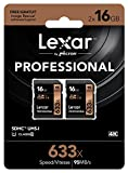 Lexar Professional 633x 16GB SDHC UHS-I Card w/Image Rescue 5 Software - LSD16GCB1NL6332 (2 Pack)