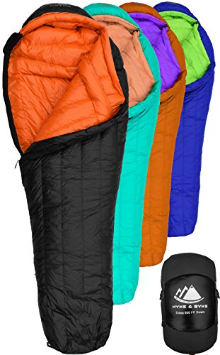Hyke & Byke Eolus 0 Degree F 800 Fill Power Hydrophobic Goose Down Sleeping Bag with LofTech Base - Ultra Lightweight 4 Season Men's and Women's Mummy Bag Designed for Backpacking ()
