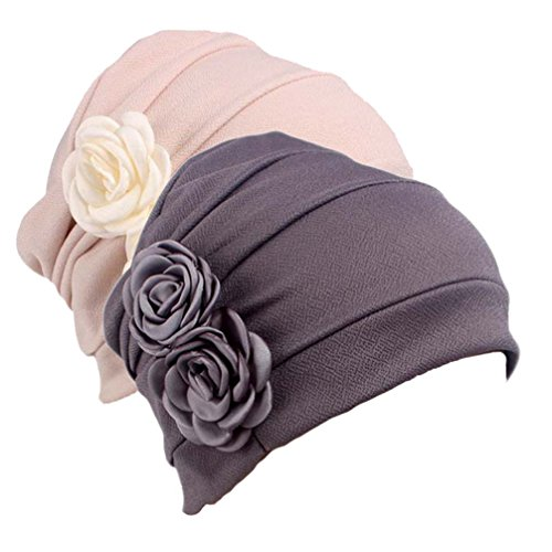Women's Sleep Soft Headwear Chemotherapy Beanie Cap for Cancer Patients HairWrap (Gray&White)