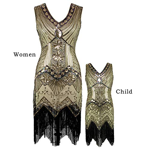AMJM Parent-Child's 1920s Gastby Sequin Art Nouveau Embellished Fringed Flapper Dress (130, Glam Gold)