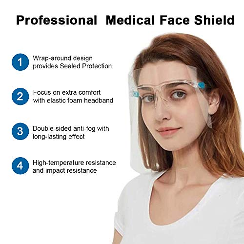 OUBA [10 PACK] - (Family Set) Anti Air Dust Reusable Glasses Style Visor Transparent Cover,Unisex Mouth Cover, Fashion Protective for Outdoor Working