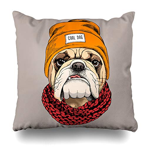 Kutita Decorativepillows Covers 16 x 16 inch Throw Pillow Covers,Animal Bulldog Portrait Hipster Hat Knitted Scarf Pattern Double-Sided Decorative Home Decor Pillowcase Sofa Bedroom Car