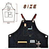 Boshiho Denim Jean Work Apron - Adjustable Bib Chef Apron Barber Apron - Utility Shop Tool Apron with Cross-back Leather Straps