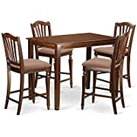 East West Furniture YACH5-MAH-C 5 Piece High Table and 4 Counter Height Dining Chair Set