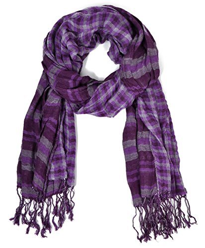 Fashionable Plaid and Stripe two toned Viscose Scarf, Lavender (Purple Viscose)