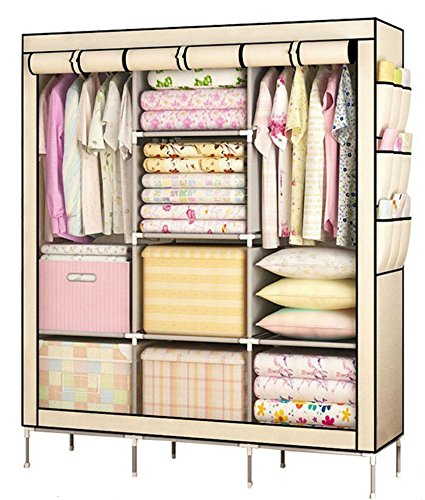 YOUUD Prevail Clothes Closet Portable Wardrobe Storage Organizer with Shelves Multilayer Sturady Durable Construction Stroage Cabinet Beige