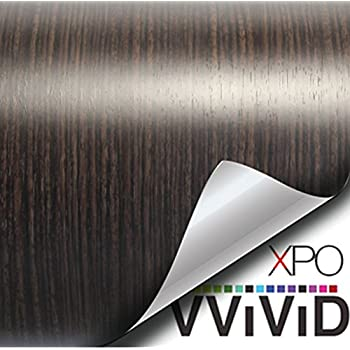 VViViD Ebony Dark Wood Grain Faux Finish Textured Vinyl Wrap Film for Home Office Furniture DIY Easy to Install No Mess 1 Foot x 48 Inches