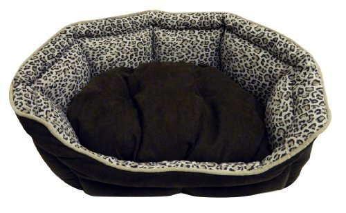 Precision Pet Shell Daydreamer Bed, 21 by 19-Inch, Leopard Simply Suede/Long Nat Terry