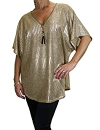 ICE (4077-2) Soft Metalic Batwing Tunic Top Zip Front Detail Pewter Gold
