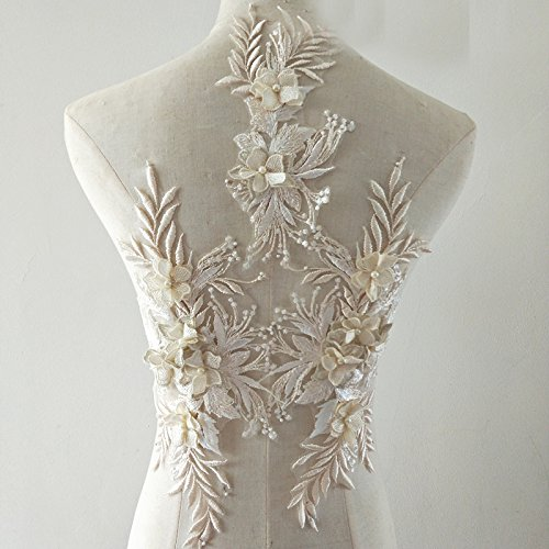 beaded flower sequence lace applique motif sewing bridal wedding 3in1 A5 3D (Champagne)