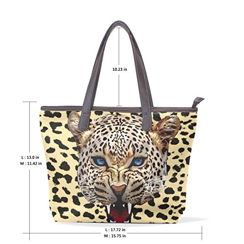 Bennigiry Handle Top Women Patern Ladies Handbag Large Jaguar Shoulder Bags White Tote Cheetah qtIgrwUq