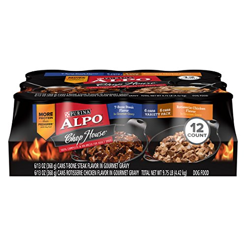 Purina ALPO Gravy Wet Dog Food Variety Pack; Chop House T-Bone Steak & Rotisserie Chicken Flavor - (12) 13 oz. Cans ()
