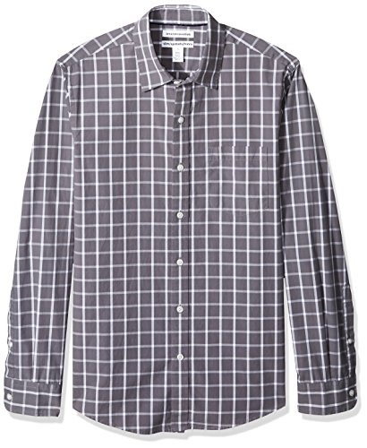 Mens Windowpane - Amazon Essentials Men's Slim-Fit Long-Sleeve Casual Poplin Shirt, Grey Windowpane, Large