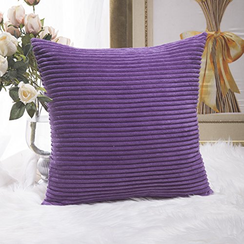 Purple Toss Pillow (HOME BRILLIANT Decor Supersoft Striped Velvet Corduroy Decorative Throw Toss Pillowcase Cushion Cover for Chair, Eggplant, (45x45 cm, 18inch))